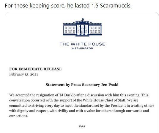 """扬言""""毁掉记者"""" 白宫副发言人停职后辞职"""